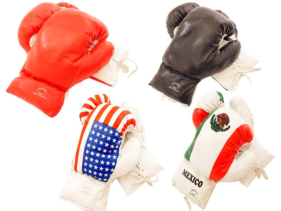 18-oz Boxing Gloves in 4 colors option Red, Black, USA, Mexico