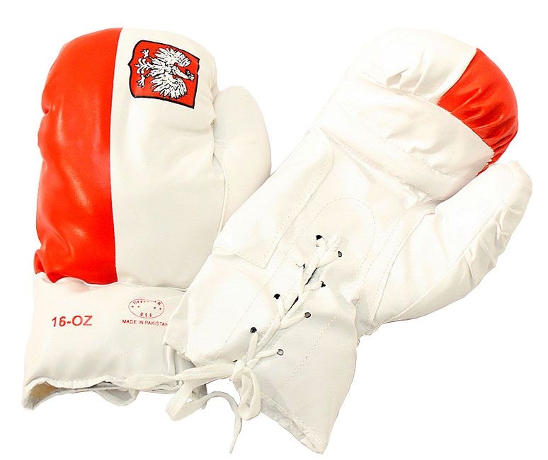 Polish 16 Oz. Boxing Gloves 1 Pair Vinyl Leather Glove Practice & Training