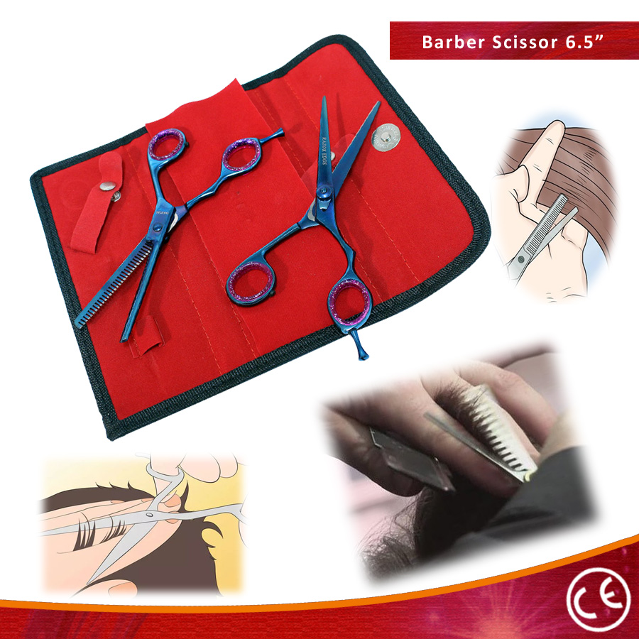 Professional Hair Cutting Blue Color Razor Edge Barber & Thinning Scissors 2 pc