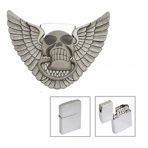 Skull Image With Wings Belt Buckle Lighter Storage/Holder New Stainless Steel