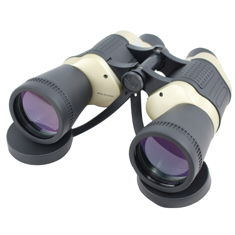 30X50 Black & Tan Free Focus High Resolution Compact  Binoculars 119M/1000M
