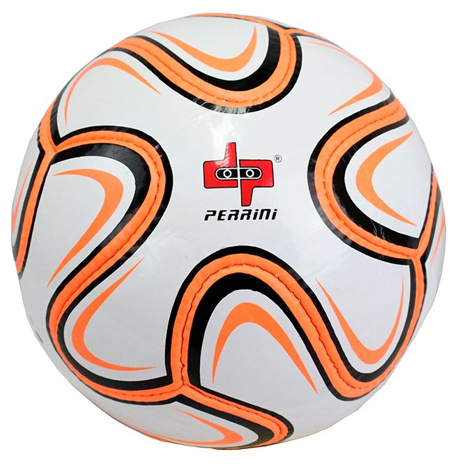 Perrini Match Soccer Ball White Orange & Black Football Training Official Size 5