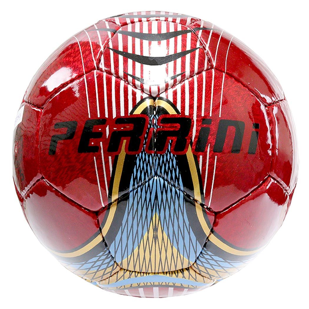 Perrini Match Ball Soccer Red With Gold Blue Trim Football Training Size 5