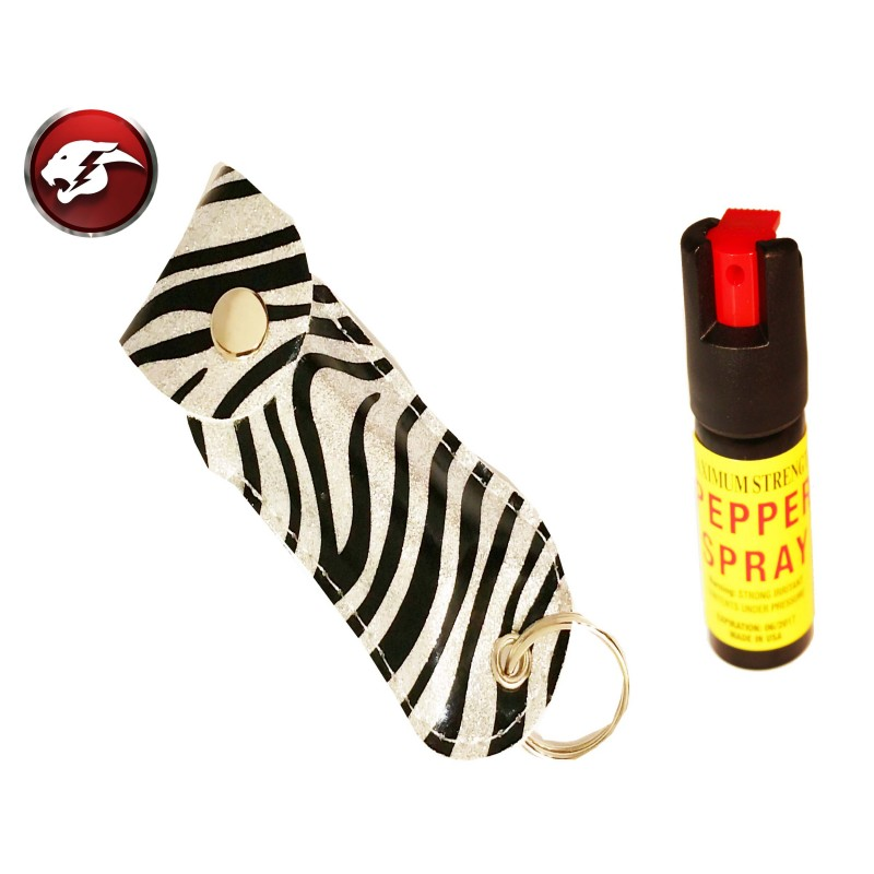 Defender Cheetah Pepper Spray Silver Zebra Pattern Faux Leather Pouch For Self Defence