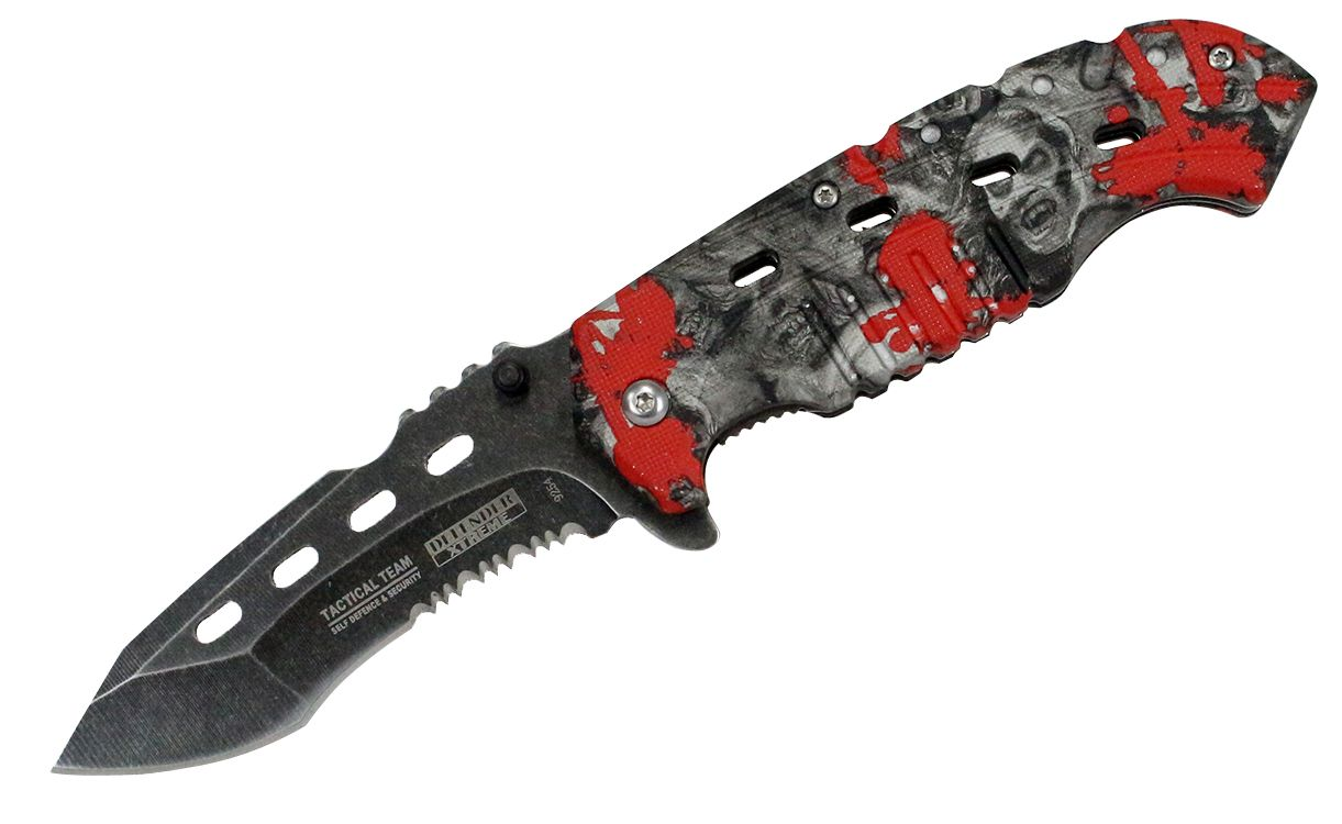 8' Defender Xtreme Serrated Spring Assisted Knife Red Zombie Handle with Belt Clip