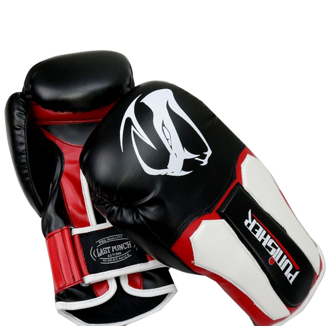 Last Punch 12oz Adult Size  Black and White Viper Detailed Boxing Gloves
