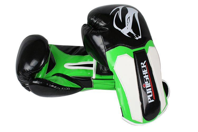 12oz Adult Size Last Punch Black and Green Punisher Boxing Gloves
