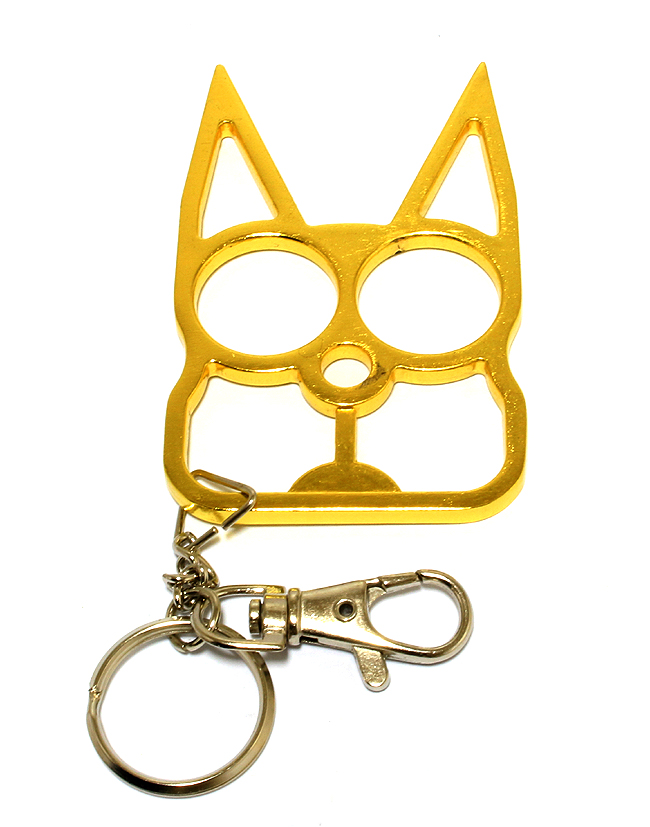 Cat Self Defense Keychain - Gold