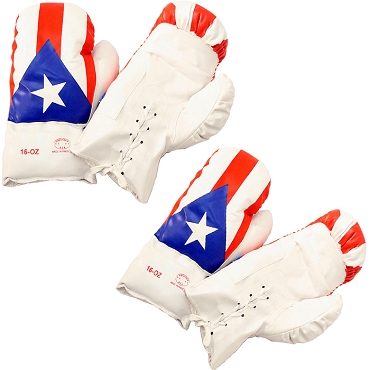 Puerto Rico 16 Oz. Boxing Gloves 1 Pair Vinyl Leather Glove Practice & Training